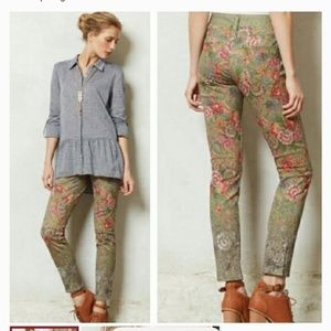 Pilcro Anthropologie faux needlepoint jeans